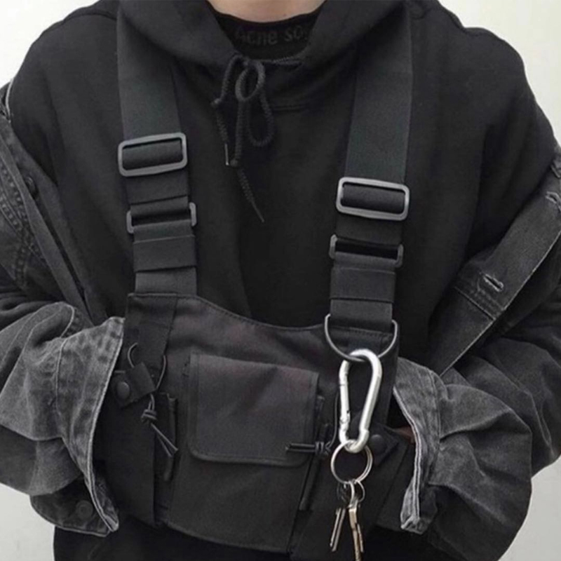 Hot Hip Hop Chest Bag For Men Oxford Waterproof Fashion Streetwear Functional Package Tactical Harness Chest Rig Bag Kanye West