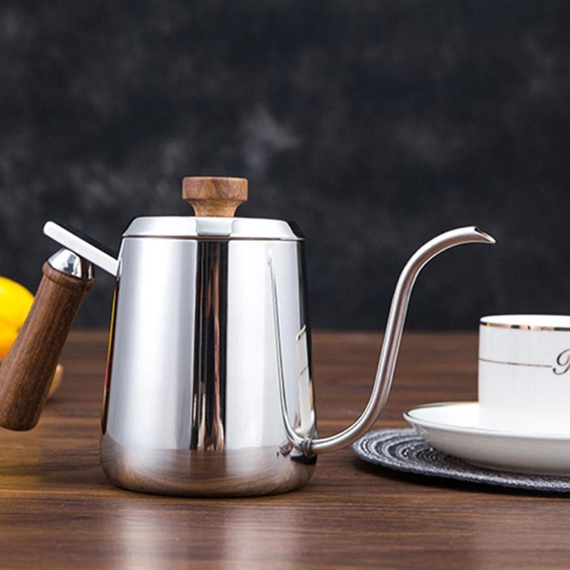 350/600ML Coffee Pot Stainless Steel Gooseneck Long Narrow Spout Wooden Handle Coffee Pots Teapot Coffeeware