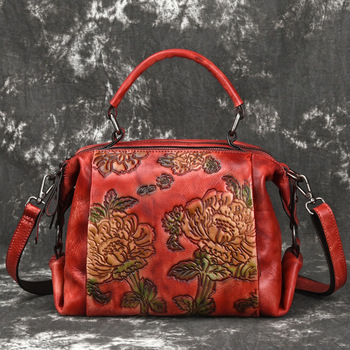 Women Crossbody Tote Handbag Famous brands flower Embossed Leather Rose Pattern Retro Leisure Female Messenger Top Handle Bags