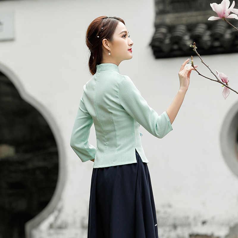 レディースグリーンチャイナブラウス中国スタイル毎日復元古代七長袖 Guzheng 服袍トップス夏プラスサイズ