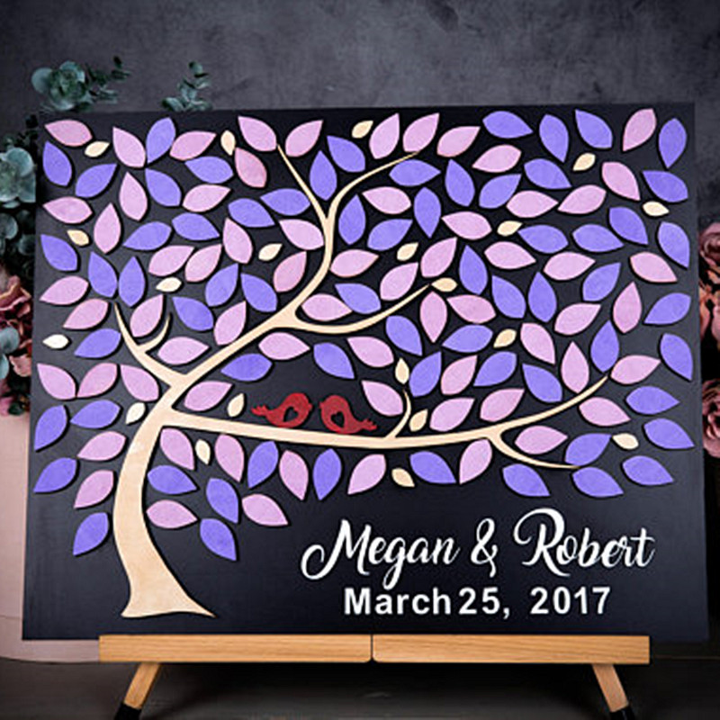 Rustic Wedding Guest Book Tree , Personalized Guest Book With Couple Names Date, Unique 3D Wedding Guest Book Gifts Ideas image