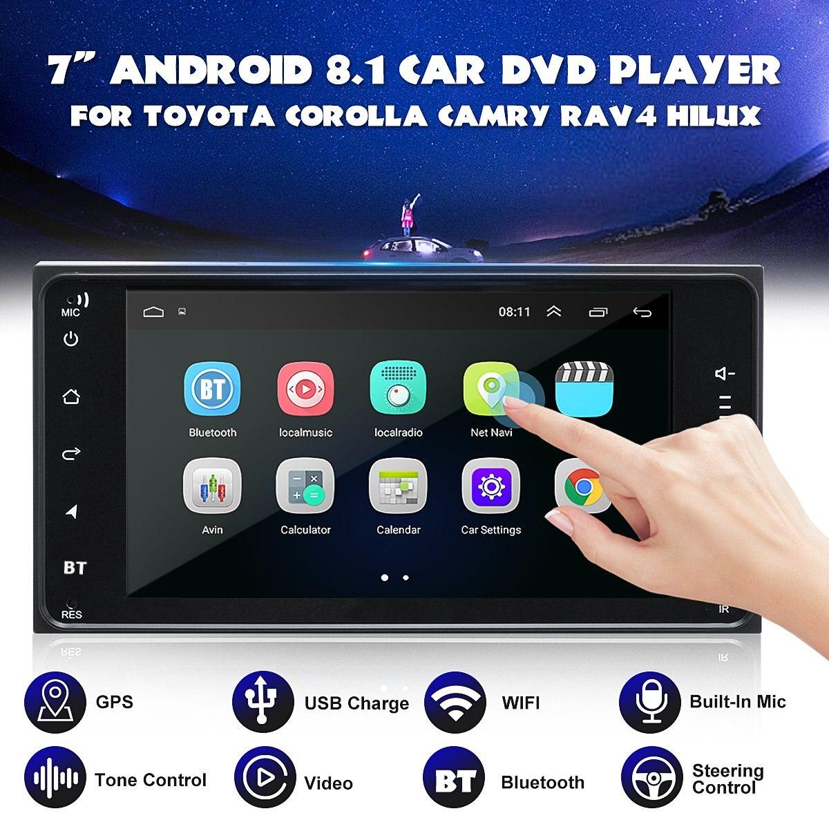Pour Toyota Corolla Hilux RAV4 voiture Android 8.1 lecteur DVD WIFI GPS stéréo bluetooth Radio Indash 7 pouces 2 Din lecteur DVD de voiture