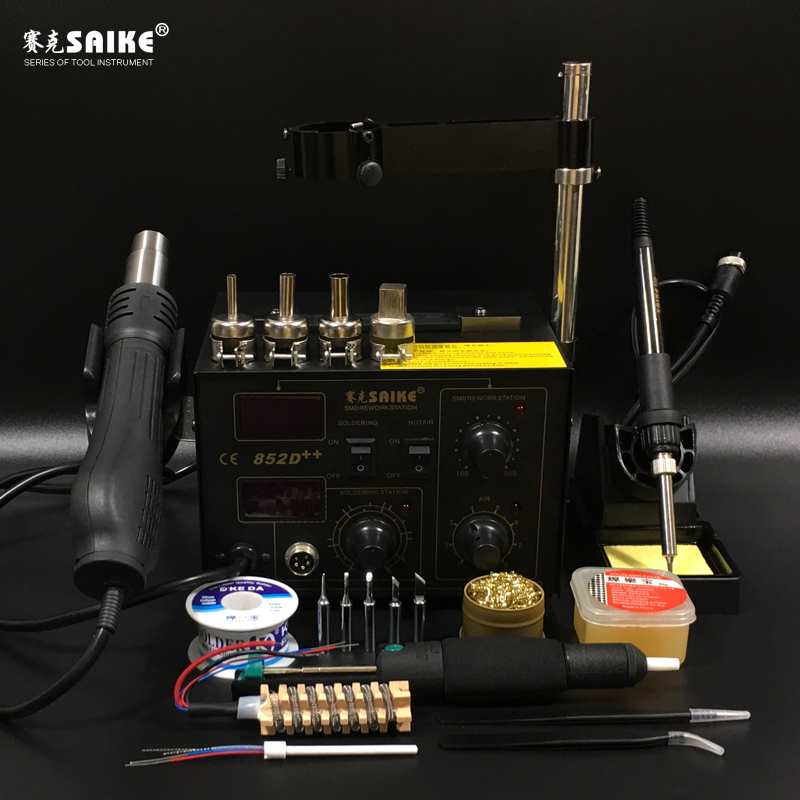 SAIKE 852D++ 2 in 1 SMD Rework Station Hot air gun soldering station Desoldering station 220V 110V saike 850 hot air gun soldering station hot air desoldering station 220v