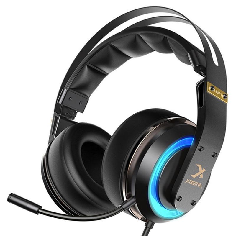 Fones de ouvido do jogo do som do surround de usb 3d do fone de ouvido do jogador do pc de xiberia t19 com microfone do cancelamento do ruído ativo conduzido para o computador