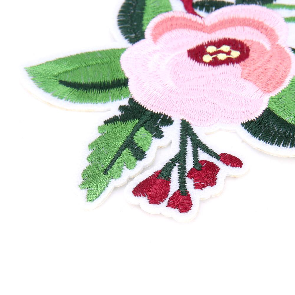Zhiheng Peony Rose Floral Embroidered Appliques Sew or Iron on Patches-Multi
