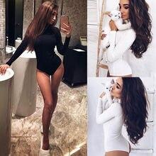 Women Ladies Sexy Fashion Bodysuit 2 Style Long Sleeve Turtleneck Solid Skinny W