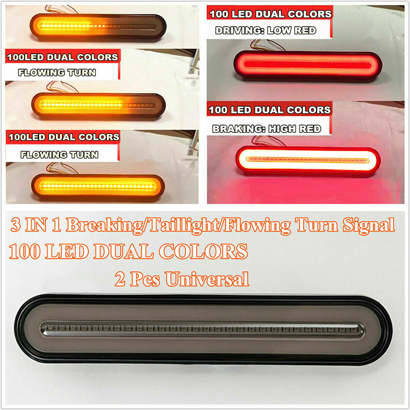 2 Pcs Neon LED Lights RV Trailer Truck Stop Flowing Turn Signal Brake Rear Tail Light IP67 Waterproof 12-24V image