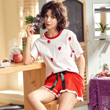 2019 Summer Simple Short Pyjamas Women 100% Cotton Sleeve Pajamas Sets Shorts Nightwear Cute Cartoon Sleepwear