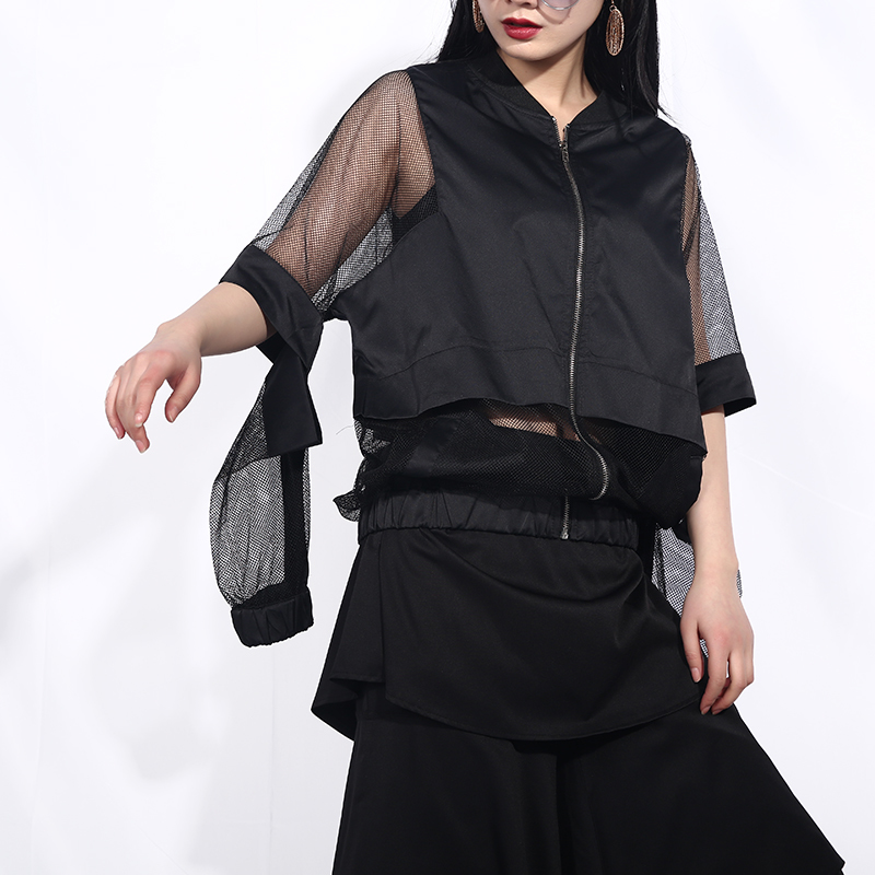 [EAM] 2020 New Spring Autumn Stand Collar Long Sleeve Black Hollow Out Perspective Loose Jacket Women Coat Fashion Tide JF73 4