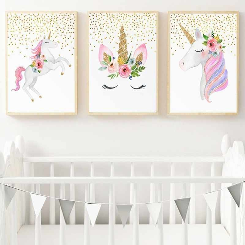 Nordic Cartoon Unicorn Canvas Paintings Nursery Flowers Heart Poster And Print Wall Art Pictures Kids Bedroom Home Decor