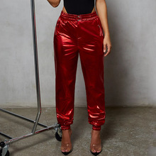 Spring High Waist Casual Harem Pants New Solid Women Fashion Elastic Pockets Loose Trousers 575