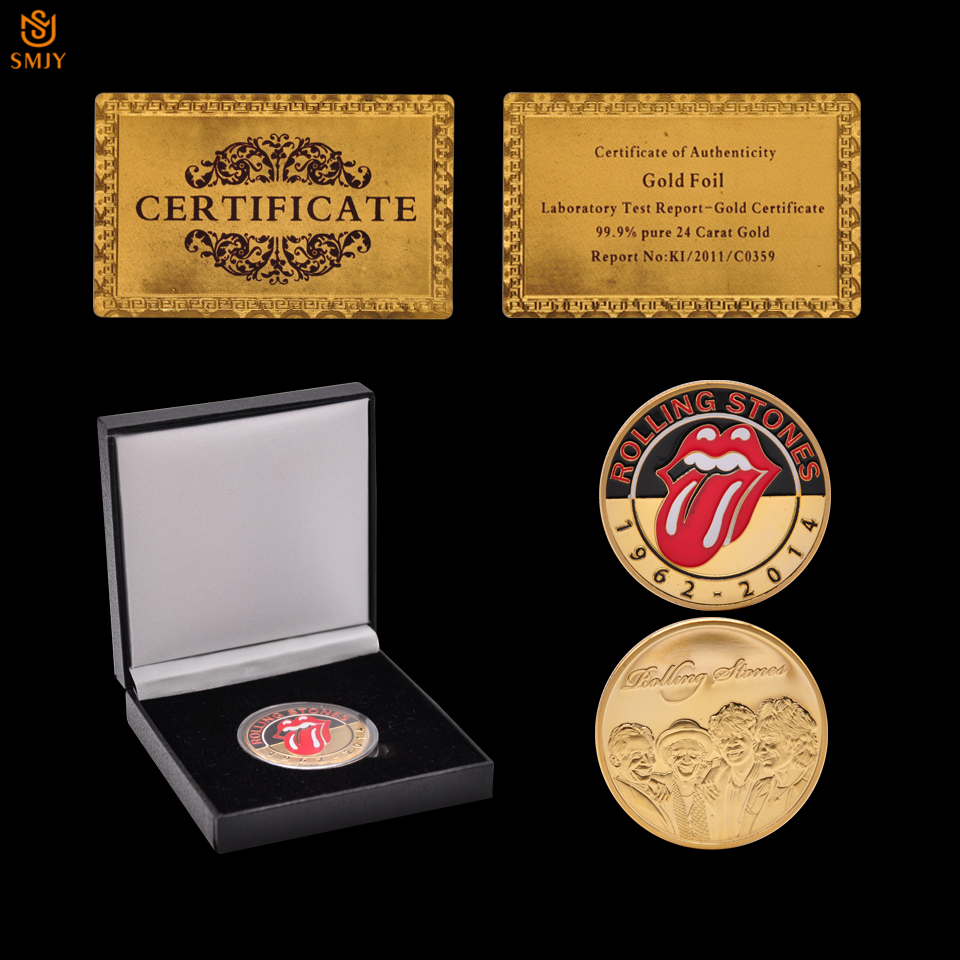 1962-2014 Grammy Musik Rock Rolling Stones Gold Rock Fan Gedenk Münze Wert Sammlung W/luxus Schutz Box