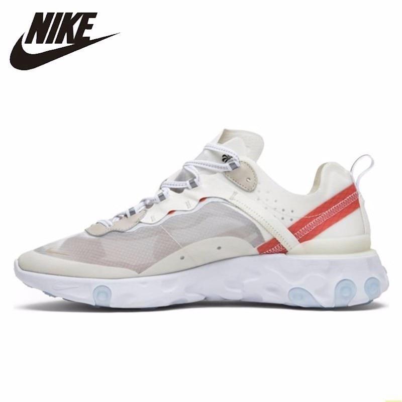 Nike Reagir Elemento 87 Men Running Shoes New Arrival Branco Transparente Sapatos Confortáveis Tênis Respirável # AQ1090-100