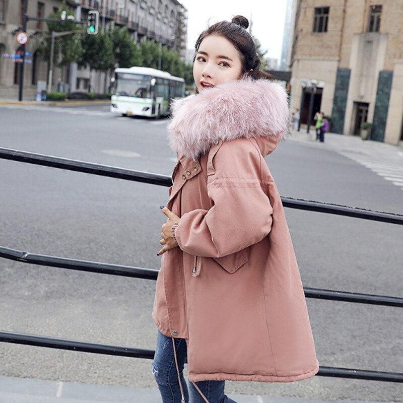 De Col Revers Capuchon Taille Chaud Parka Femmes Colour D'hiver Épais khaki Femelle Veste Décontractée À Rembourré Mujer Pink La Manteau Plus Fourrure Coton qxTYXz8Twn