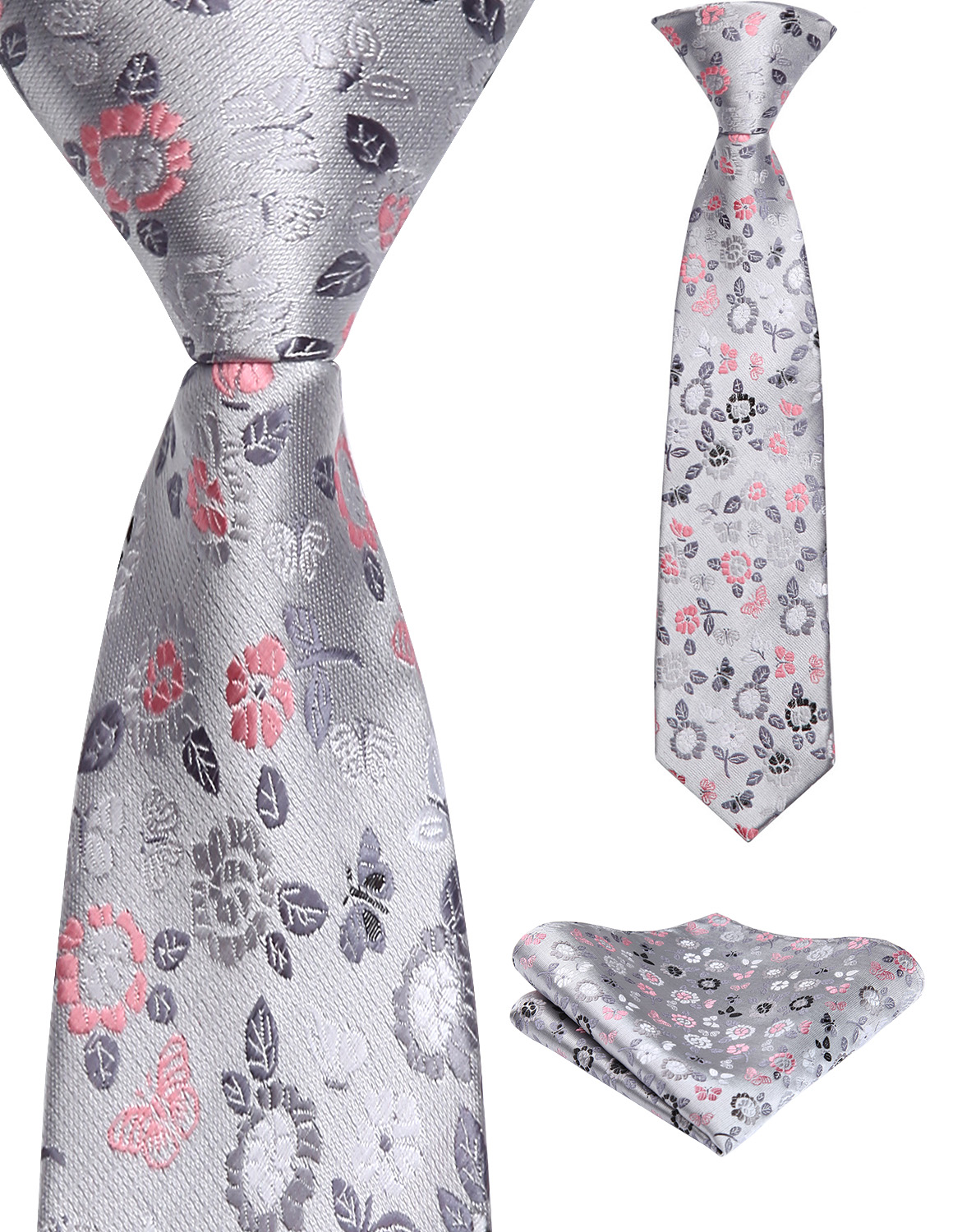 38cm Child Pre-tied Necktie For Boys Floral Woven Handkerchief Set Kids School Parent-Child Tie  Pocket Square Set