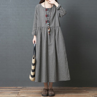 Vintage Plaid Cotton Linen Dress For Women Loose Casual Maxi Dresses Long Sleeve Round Neck Retro Fashion Elbise mujer