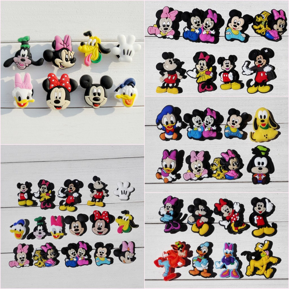 8-16pcs Cute Mickey Minnie Cartoon PVC Shoe Charms Buckles Accessories Buttons Fit Wristbands Bracelets Croc JIBZ Kid Gift
