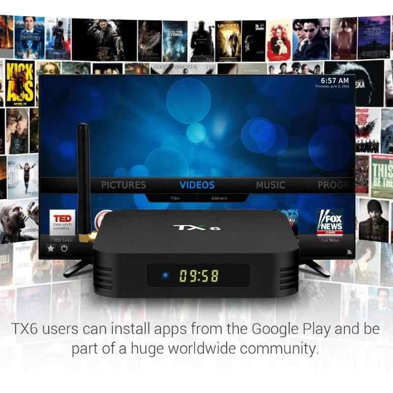 TX6 Allwinner H6 Android 9.0 Quad Core Thông Minh TV Box 4G + 32 GB 2.4G WiFi Set Top hộp Phương Tiện Truyền Thông Máy Nghe Nhạc Android TV Tiền Tố Tập Tin Đính Kèm
