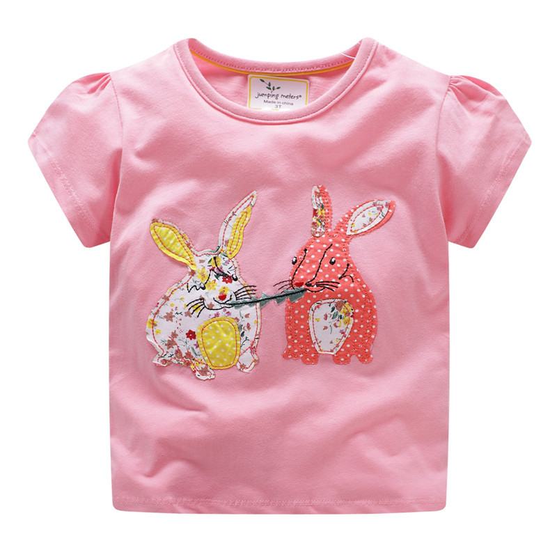 Jumping meters Applique Bunny <font><b>Baby</b></font> summer Tees & Tops cotton clothes new 2018 rabbit children t shirts short sleeve <font><b>tshirt</b></font> kids image