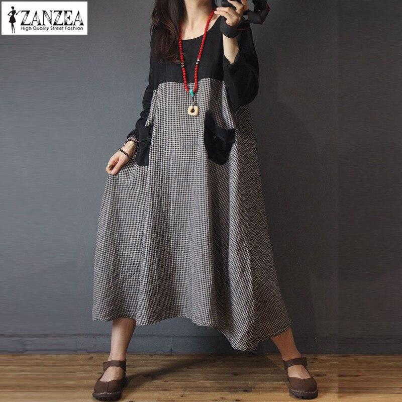 Zanzea vestidos de xadrez feminina outono casaul manga longa retalhos baggy maxi vestido feminino robe kaftans vintage vestidos plus size