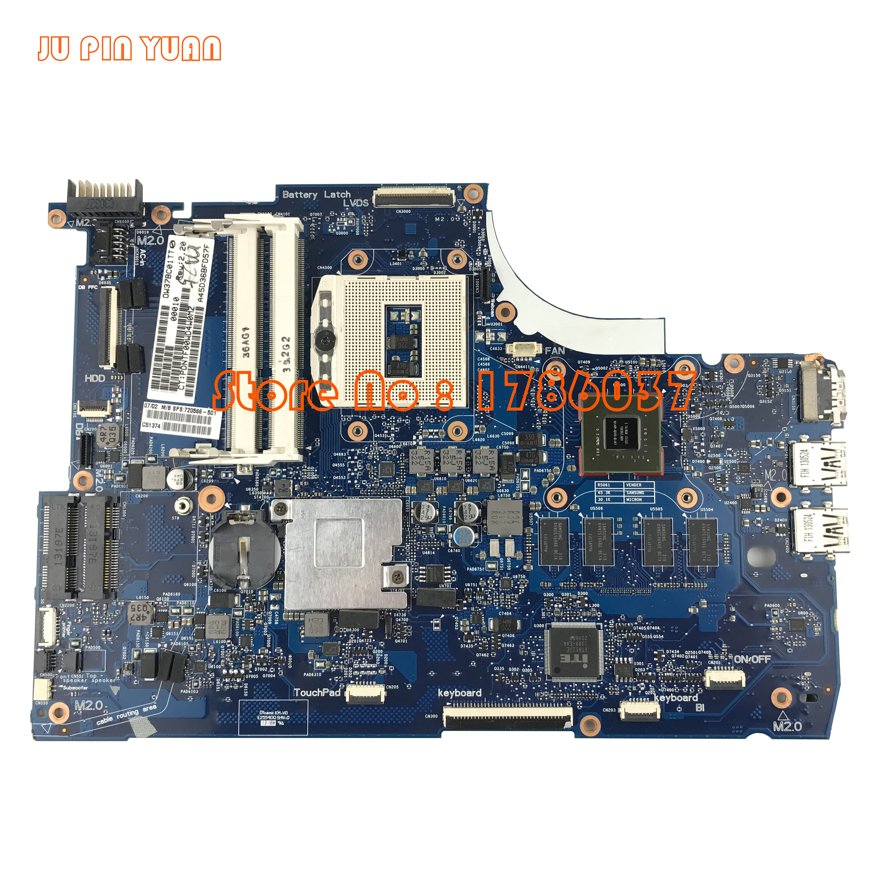 JU PIN YUAN 720566-501 720566-001 para HP ENVY 15-J 15T-J serie placa base 740M / 2G HM87 Todas las funciones 100% totalmente probadas