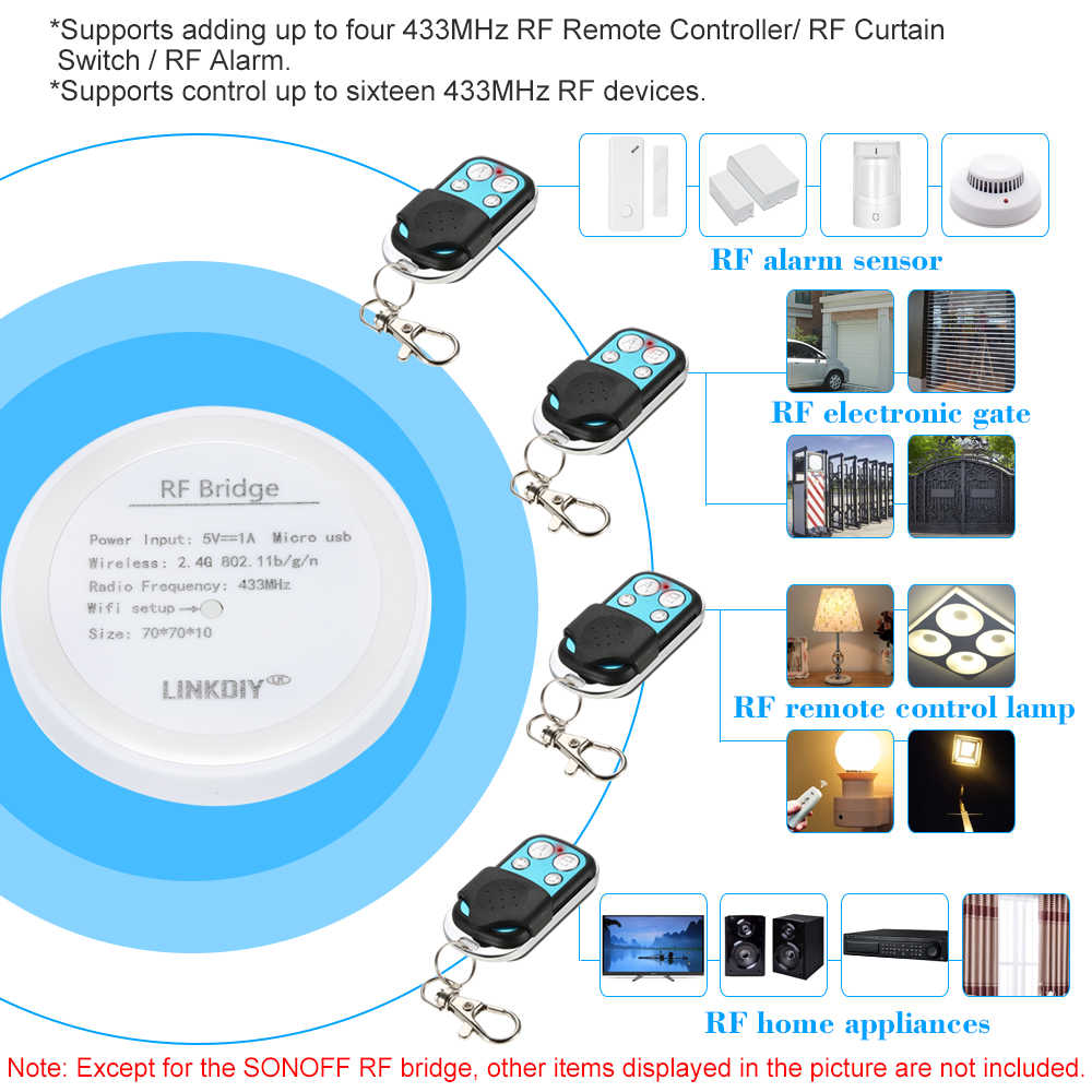 RF Bridge 433 WiFi Wireless Smart Home Remote Controller 433MHz Automation  Module Switch Universal Timing DIY For Alexa Google