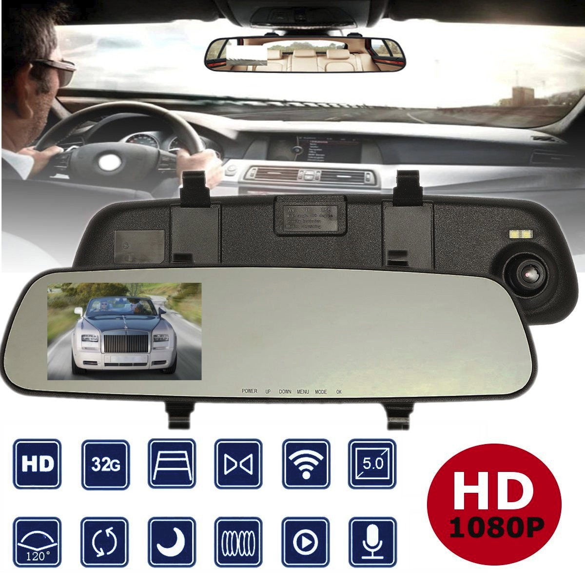 2.4'' 720P HD Rearview Smart Mirror Camera Monitor Dashboard Cam DVR Recorder 5