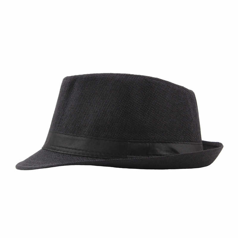 706a490254a ... Vintage Curling Fedoras For Women Men Linen Wide Brim Hat Unisex  Fashion Jazz Hats Summer Beach ...