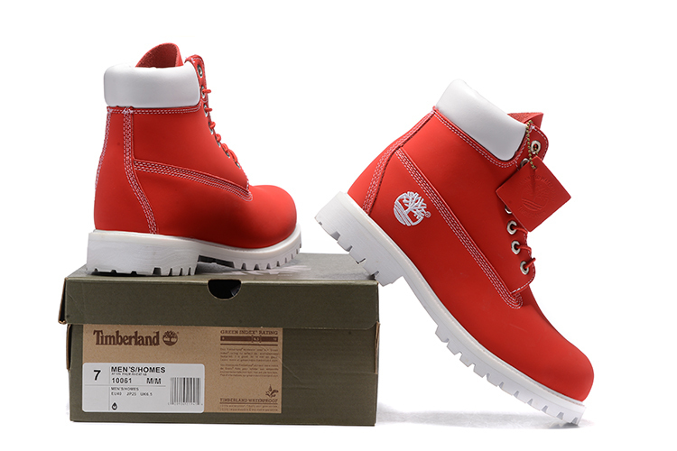 d6fdbc4f450 As Cheville De Homme Chaussures Timberland Top Hommes Bottes Mode Cuir  Rouge Solide Printemps 10061 automne Broderie Couleur High Photo Martin ...