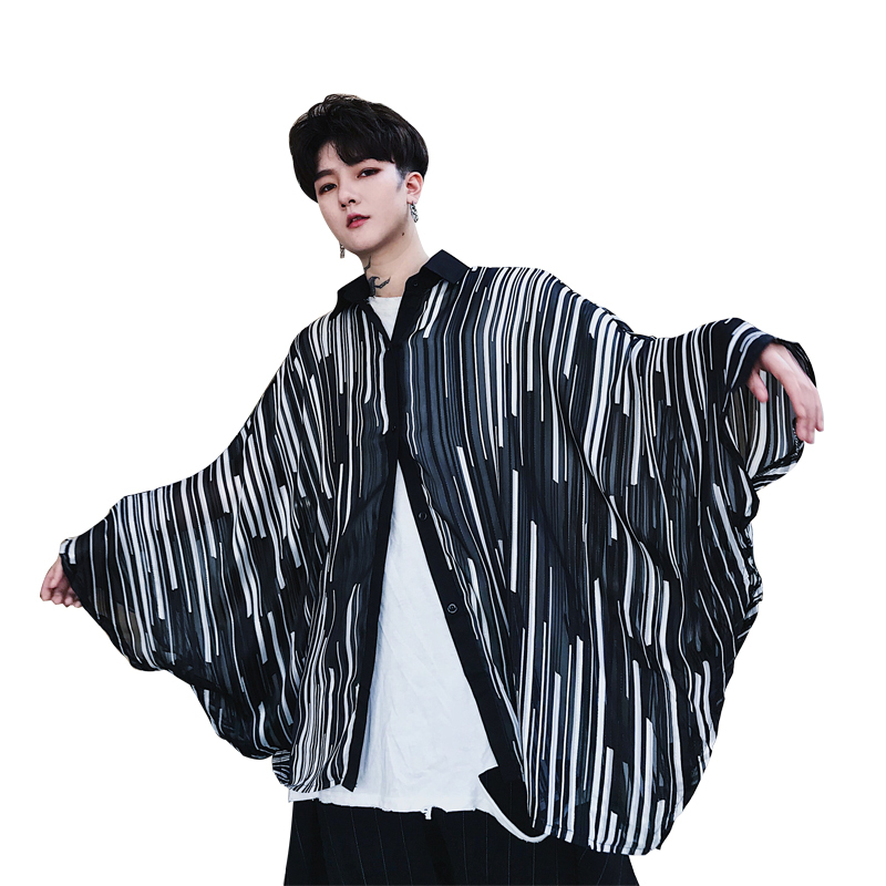Summer irregular stripes bat sleeve ov sun protection clothing transparent mesh organza cloak vest shoulder male neutral trend