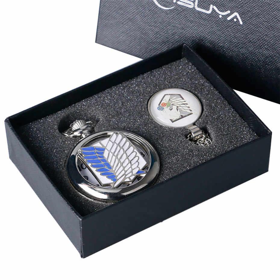 อะนิเมะโจมตีบน Titan รูปแบบนาฬิกาชุดคอสเพลย์สร้อยคอนาฬิกาชุดของขวัญเงินนาฬิกา Relogio De Bolso