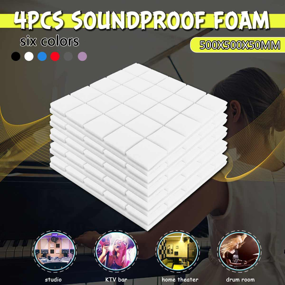 4PCS 50x50x5cm Studio Acoustic Soundproof Foam Sound Absorption Treatment Panel Tile Wedge Protective Sponge