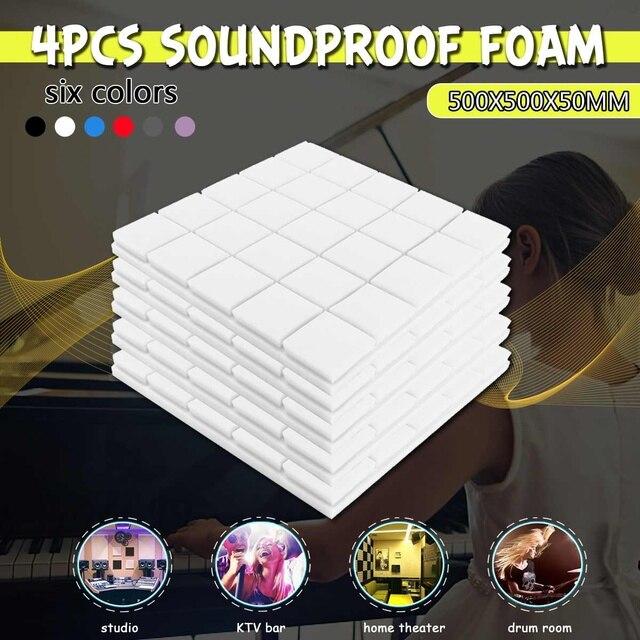 4 piezas 50x50x50x5 cm estudio acústico insonorizado de espuma de absorción de sonido tratamiento Panel de cuña de esponja