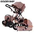 Oro Bebé/GoldBaby cochecito de bebé 2 en 1 3 en 1 shock doblado plegable bebé recién nacido carro Rusia envío gratis