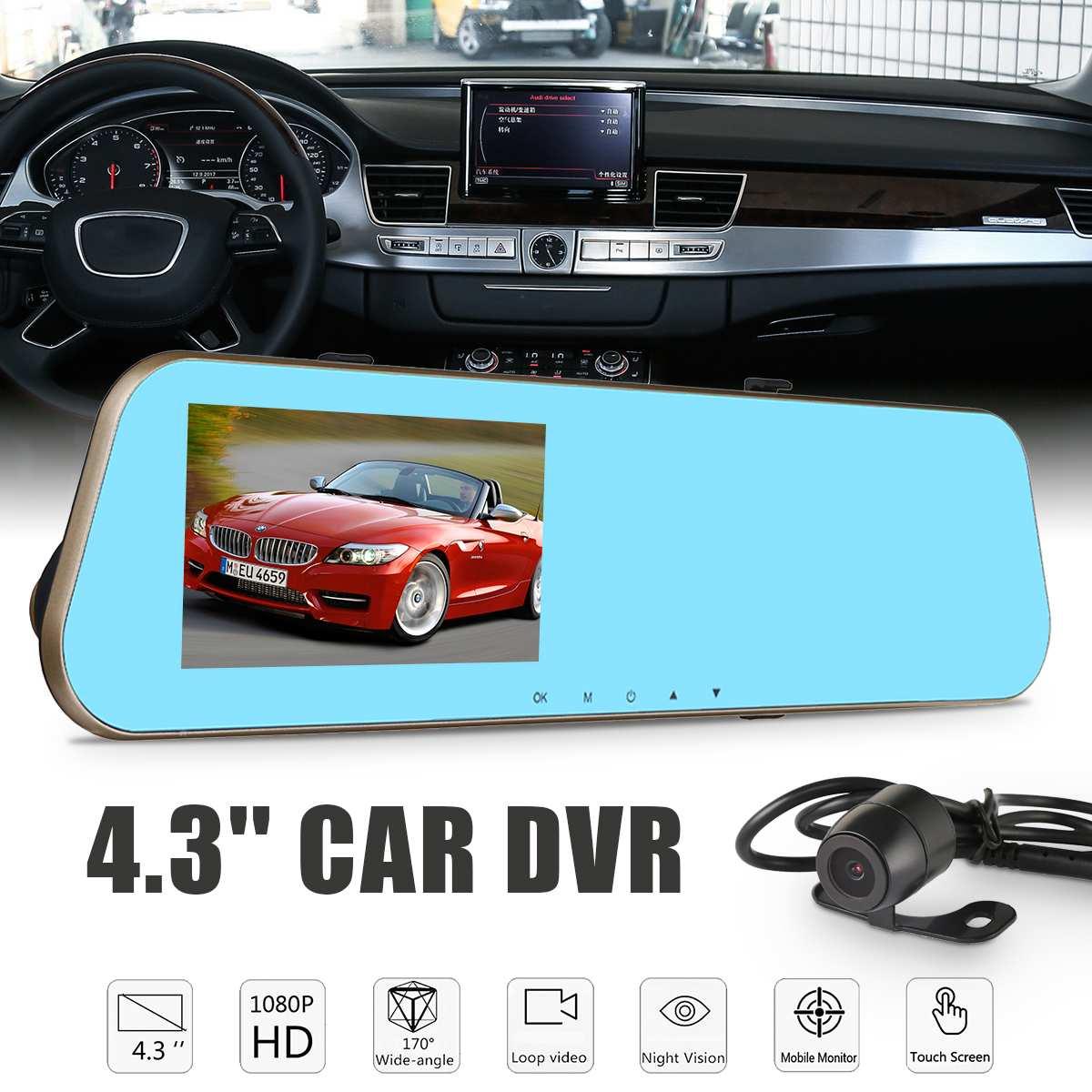 Full HD 1080 P dvr de voiture Dash Caméra Auto 4.3 Pouces rétroviseur Numérique enregistreur vidéo Double Lentille Registratory Caméscope
