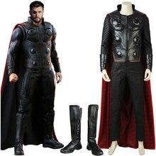 Nieuwe Avengers Infinity War Thor Cosplay Kostuum met Mantel Halloween Superheld Outfit voor Volwassen Mannen