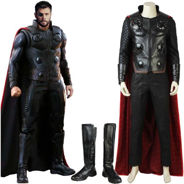 Nouveau déguisement de Cosplay Avengers Infinity War Thor avec cape tenue de super héros dhalloween pour hommes adultes