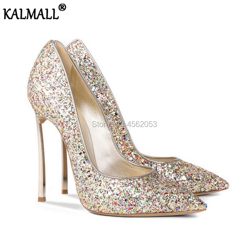 cca3d358ce6 Detail Feedback Questions about KALMALL Luxury Shoes Women Designers Black  White Red Silver Gold Glitter Wedding Pumps Fashion High Heels Stiletto  Bridal ...