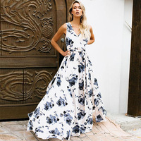 Women Bohemian Maxi Party Dress Summer 2019 Vintage Printing Loose Long Dress Rode Femme Garment Elegant Bandage Dresses