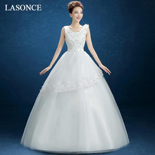 LASONCE Flowers Scoop Neck Tiered Lace Appliques Ball Gown Wedding Dresses Crystal Bow Sash Backless Bridal Dress цена