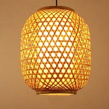 Vintage Bamboo Wicker Rattan Lantern Shade Led Pendant Ligths Fixture Rustic Art Deco Restaurant Hanging Lamp Luminaire Lighting недорого