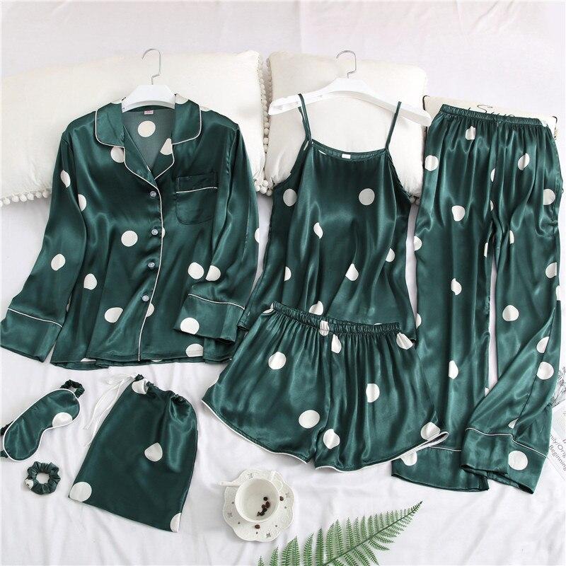 Home Suit 7 Pieces Summer Autumn Nightwear Sleep Loungewear Female Satin Silk   Pajamas     Set   Pijama Sleepwear Women Pyjamas
