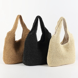 ABDB-Korean Version Ins Wind Beach Holiday Style New Handmade Woven Bag Shoulder Simple Solid Color Wild Straw Bag
