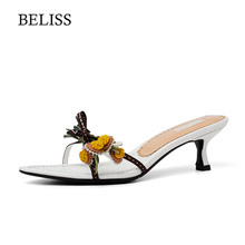 BELISS 2019 Fashion Slippers Women Flower Thin Heels Spring Summer Lady Outside Wear Slides Woman Shoes Pointed Toe S37