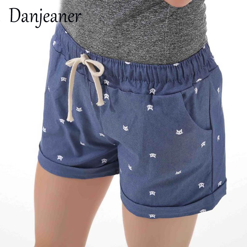 Danjeaner Short Feminino Cat Head Printed High Waist Shorts Women Summer Elastic Waits Short Pants Female Sport Hot Pants
