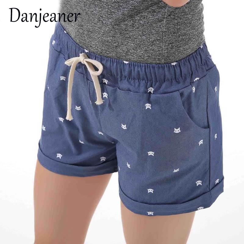 Danjeaner Short Feminino Cat Head Printed High Waist Shorts Women Summer Elastic Waits Short Pants Female Sport Hot Pants