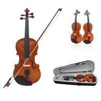 New 4/4 Full Size Natural Acoustic Violin Fiddle Craft Violino With Case Mute Bow Strings 4 String Instrument For Beiginner
