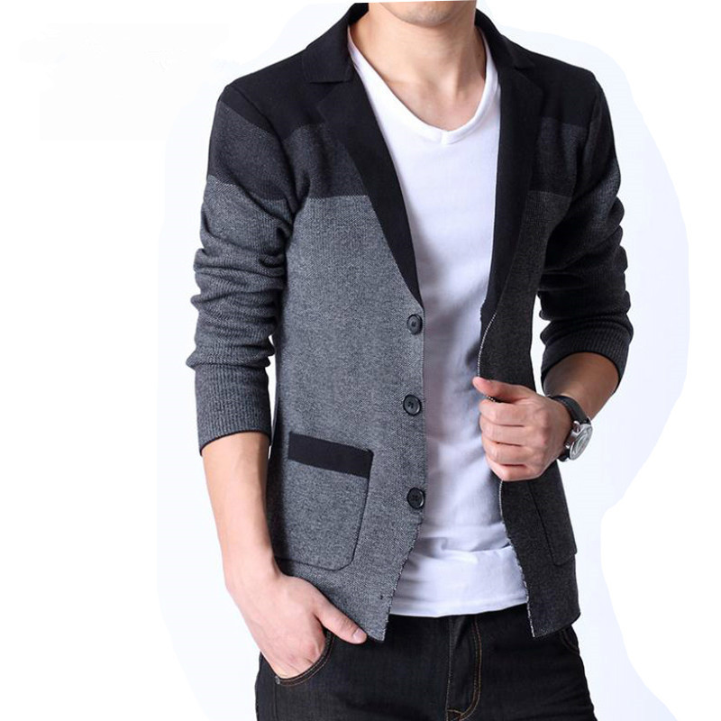 Spring New Mens Knitted Cardigan Color Matching Trend Male Elegant Lapel Korean Coat Slim Sweater Fashion Blazer Texture Button