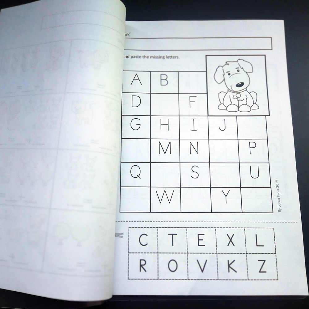 92Pcs Farm Theme Fun Kindergarten English Practice Book Alphabet Reading  Digital Shape Training Workbook Kids Education Toys