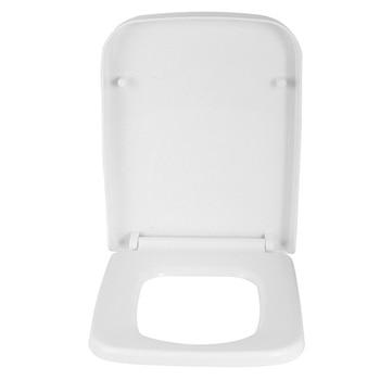 Witte Vierkante Toiletbril Soft Close Quick Release Wrapover Top Fix NCG 199